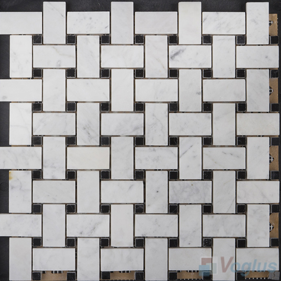 Carrara White Polished Basket Weave Stone Mosaic VS-PBW99
