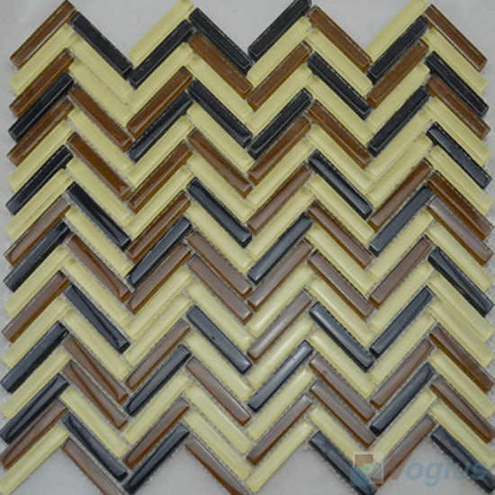 Citrine Herringbone Glass Mosaic Tile VG-UHB99