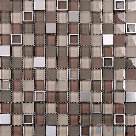 Coffee 1x1 Glass Mix Metal Mosaic Tiles VB-GMB99