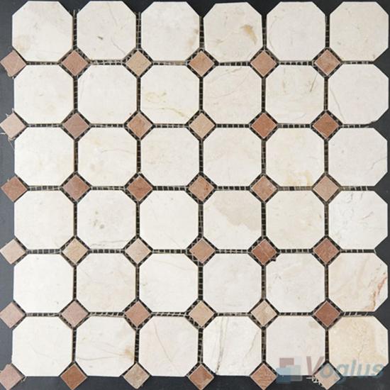 Crema Marfil Polished Octagon Marble Mosaic VS-PTG95