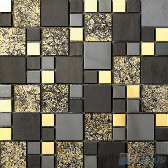 Forrute Magic Cube Glass Mix Metal Mosaic Tile VB-GMMA93
