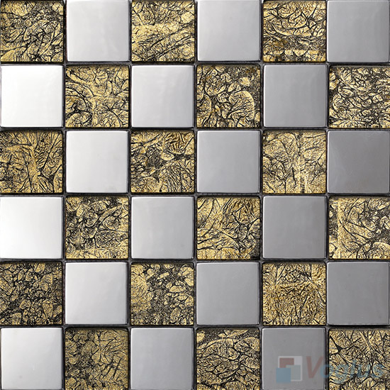 Gold 48x48mm Classic Glass Mosaic Mixed Metal VB-GME99