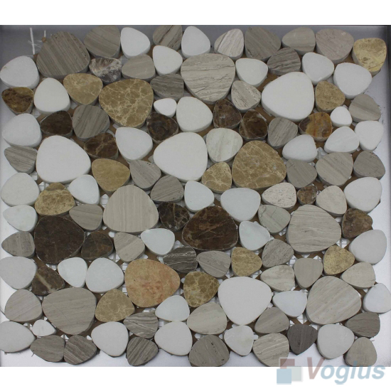 Gray Mixed Polished Pebble Marble Mosaic VS-PPB99