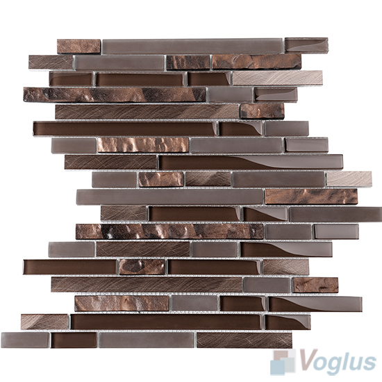 Umber Bullet Linear Glass Metal Mosaic Tiles VB-GML99