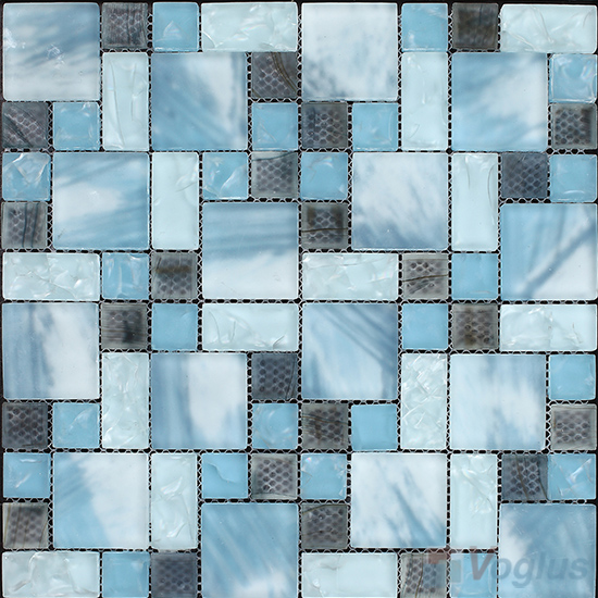 Baby Blue Magic Cube Ice Crackle Glass Mosaic Tiles VG-CKM94