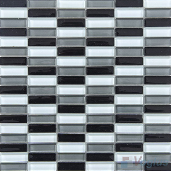 Black White Mixed Checker Clear Crystal Glass Mosaic Tiles VG-CYC96