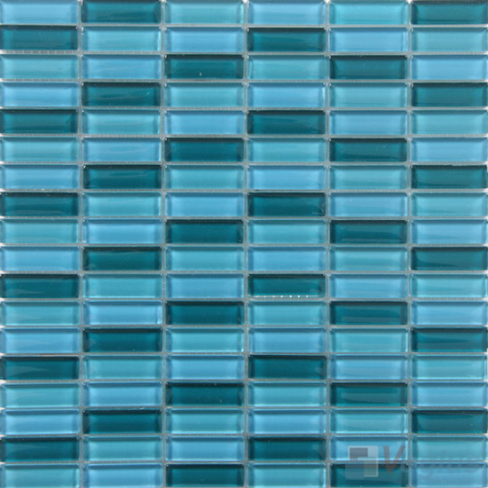 Bondi Blue Mixed Checker Clear Crystal Glass Mosaic Tiles VG-CYC99