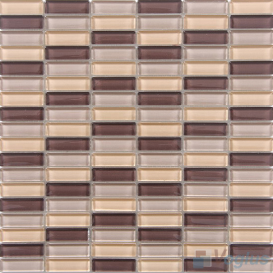 Brown Cream Mixed Checker Clear Crystal Glass Mosaic Tiles VG-CYC97