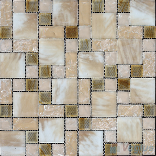 Burlywood Magic Cube Ice Crackle Glass Mosaic Tiles VG-CKM93