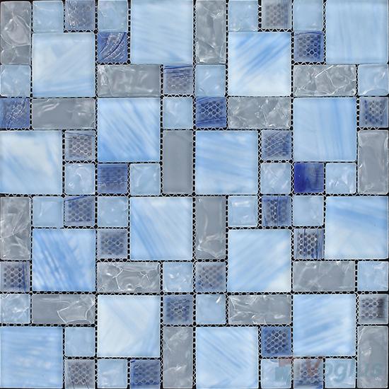 Cornflower Magic Cube Ice Crackle Glass Mosaic Tiles VG-CKM96