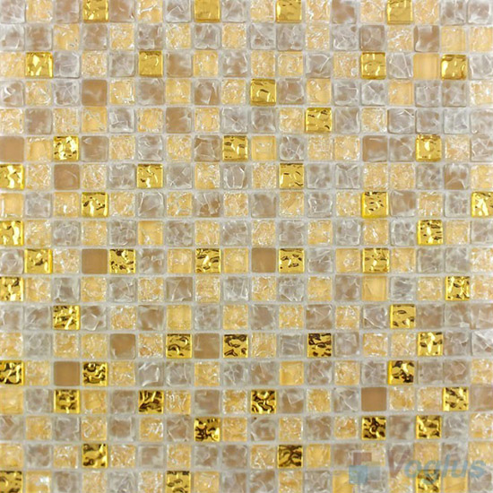 Frosted Wheat Ice Crackle Glass Mosaic VG-CKA92