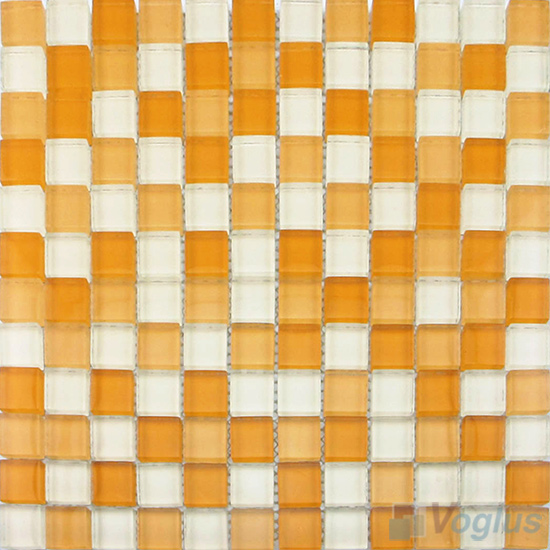 Orange Mixed 8mm Thickness Crystal Glass Tiles VG-CYB98