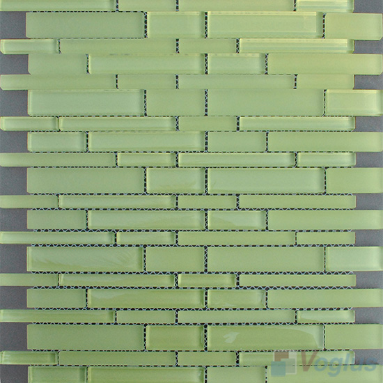 Pistachio Linear Clear Crystal Glass Mosaic VG-CYL99