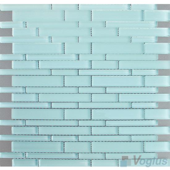 Powder Blue Linear Clear Crystal Glass Mosaic VG-CYL94