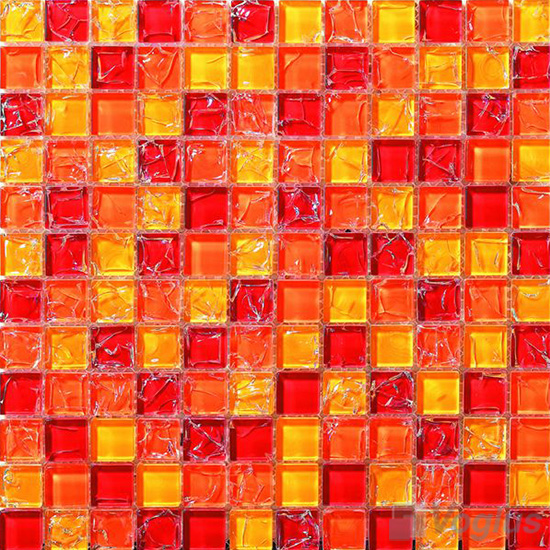 Red Mixed Ice Crackle Crystal Glass Mosaic VG-CKB96