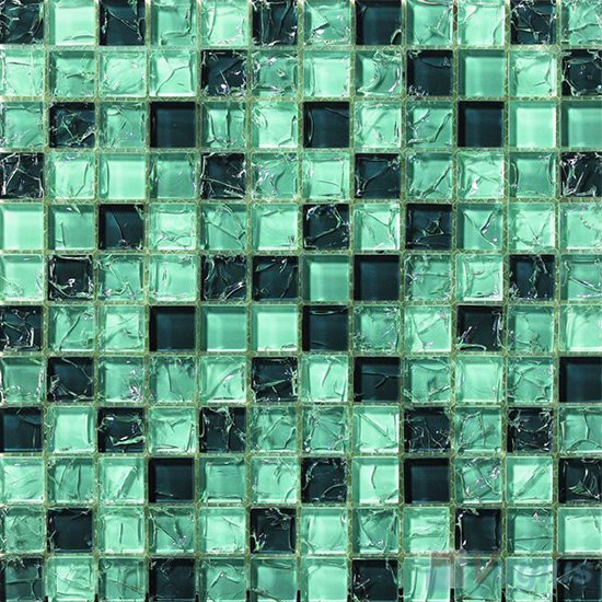 Sea Green Mixed Ice Crackle Crystal Glass Mosaic VG-CKB99