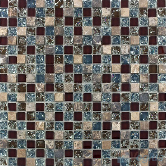 Seal Brown Ice Crackle Glass Mosaic with Stone VG-CKA95