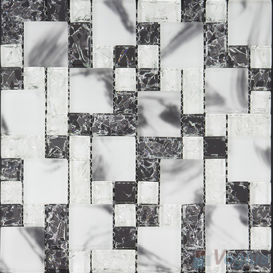 Snowy Magic Cube Ice Crackle Glass Mosaic Tiles VG-CKM98