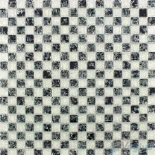 Black White Lattice Ice Crackle Glass Mosaic VG-CKA99
