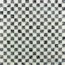 Black White Lattice Ice Crackle Glass Mosaic VG-CKA99