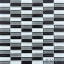 Black White Mixed Checker Clear Crystal Glass Mosaic Tiles VG-CYC96