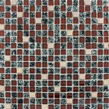 Burnt Umber Ice Crackle Glass Mosaic Mix Metal VG-CKA90
