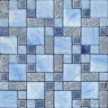 Cornflower Magic Cube Ice Crackle Glass Mosaic Tiles VG-CKM96