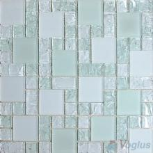 Light Cambridge Blue Magic Cube Ice Crackle Glass Mosaic Tiles VG-CKM88