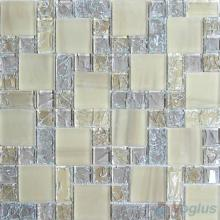 Light Taupe Magic Cube Ice Crackle Glass Mosaic Tiles VG-CKM85