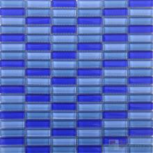 Palatinate Blue Blend Checker Clear Crystal Glass Mosaic Tiles VG-CYC98