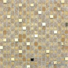 Papaya Whip Ice Crackle Glass Metal Mosaic VG-CKA89