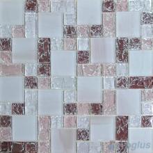 Pastel Magenta Magic Cube Ice Crackle Glass Mosaic Tiles VG-CKM84