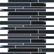 Titanium Black Linear Clear Crystal Glass Mosaic VG-CYL89
