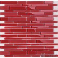 Wine Red Linear Clear Crystal Glass Mosaic VG-CYL93