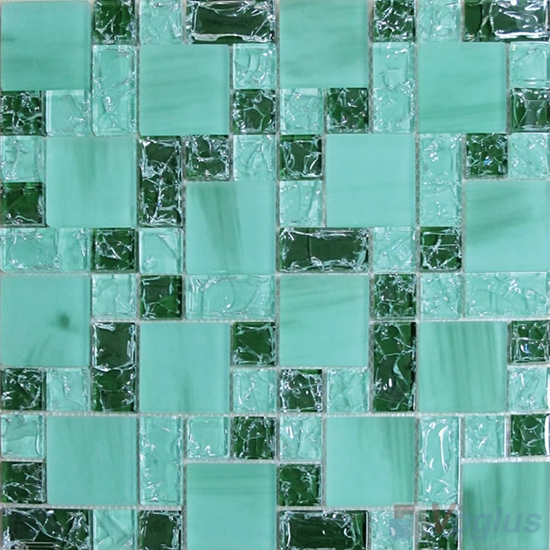 Tiffany Blue Magic Cube Ice Crackle Glass Mosaic Tiles VG-CKM91