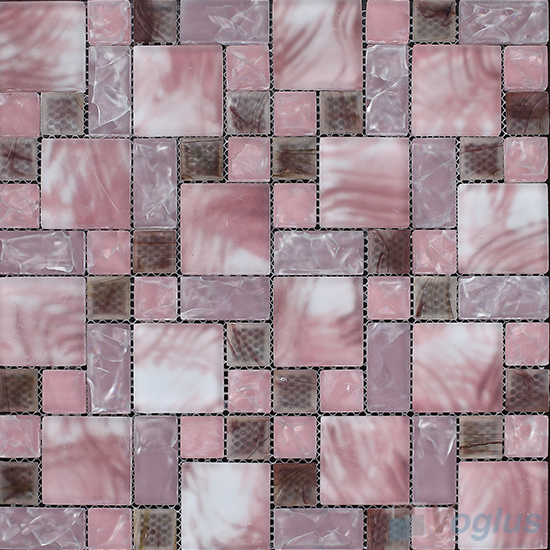 Turkish Rose Magic Cube Ice Crackle Glass Mosaic Tiles VG-CKM92