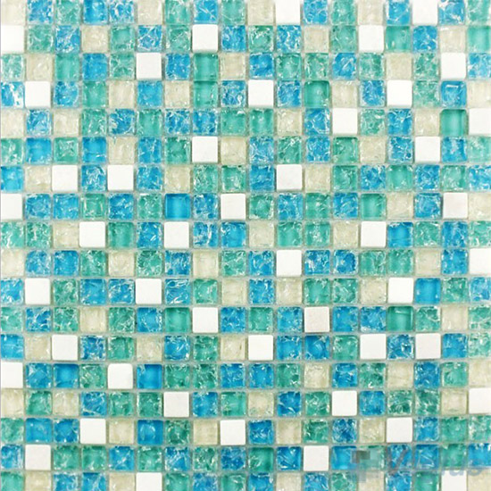 Turquoise Ice Crackle Glass Stone Mosaic VG-CKA96