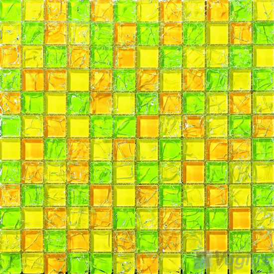 Yellow Mixed Ice Crackle Crystal Glass Mosaic VG-CKB95