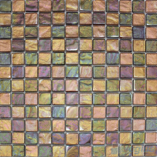 1x1 Gold Foiled Glass Mosaic Tile VG-GFB97