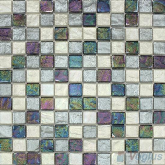 1x1 Gold Foiled Glass Mosaic Tile VG-GFB98