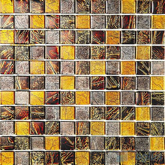 1x1 Gold Leaf Glass Mosaic Tile VG-GFB92