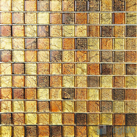 1x1 Gold Leaf Glass Mosaic Tile VG-GFB93