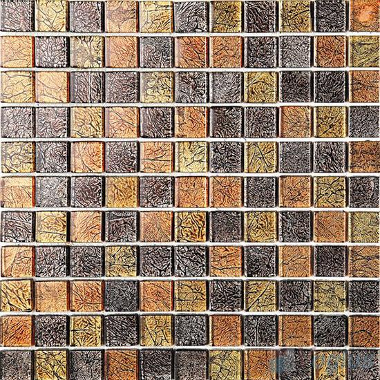1x1 Gold Leaf Glass Mosaic Tile VG-GFB94