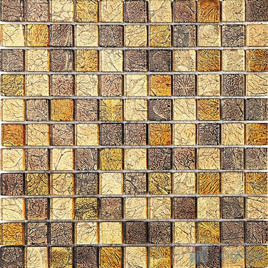 1x1 Gold Leaf Glass Mosaic Tile VG-GFB95