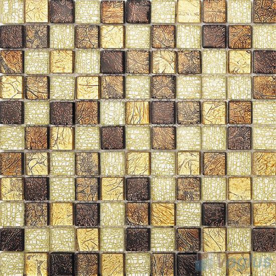 1x1 Gold Leaf Glass Mosaic Tile VG-GFB96