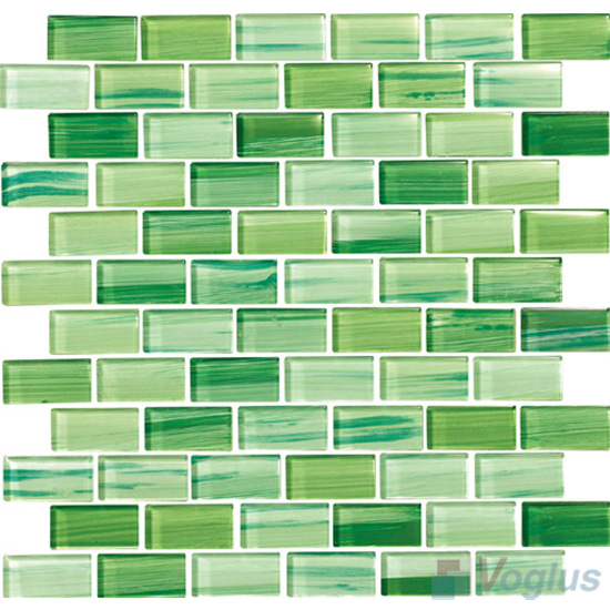 Apple Green 1x2 Subway Hand Painted Glass Tile VG-HPD97
