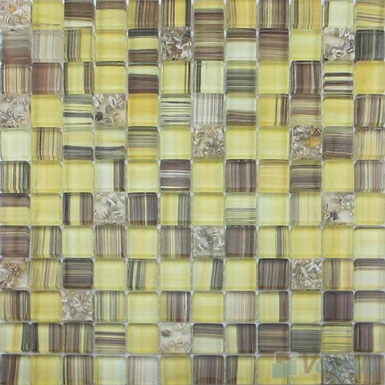 Aureolin 23x23mm Hand Painted Glass Mosaic VG-HPB89