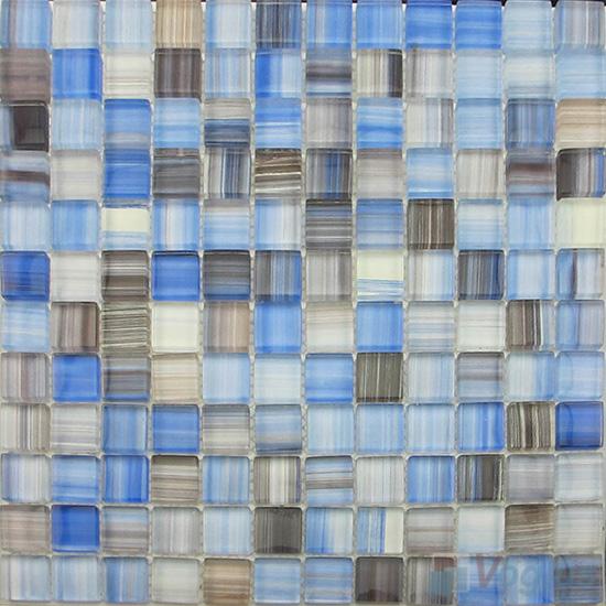 Azure 23x23mm Hand Painted Glass Mosaic VG-HPB98