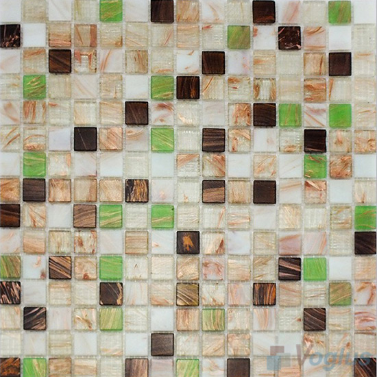Beige 20x20mm Gold Line Glass Mosaic VG-GLF95