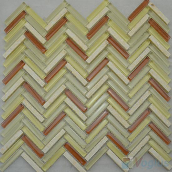 Beige Herringbone Glass Mosaic Tile Mixed Stone VG-UHB94